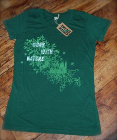 Ladies Work with nature green t-shirt seeds