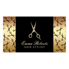 Hair Stylist Scissor Pattern Modern Black & Gold Business Card