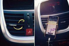 Technik-Lifehack #10 – Smartphone-Halter für das Auto. (Bild: Pinterest)