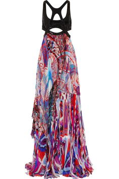 Emilio Pucci Sequin-embellished printed silk-blend chiffon gown NET-A-PORTER.COM