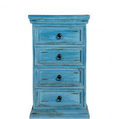 ANTIGUA - Комод для комнаты  Комод серии ANTIGUA сине-бирюзового цвета заставит Вас подумать об Антильских островах, солнышке, бесконечном океане и отдыхе. Винтажный стиль, 4 ящика и металлические ручки. Цвет дерева и желто-коричневые пятна придают эффект состаривания. Хорошо сочетается с белым и желтым. Размеры: 50Х28Х85 см 3700-00
