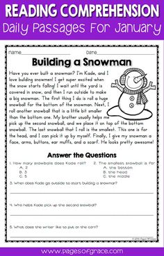 Reading comprehension daily passages. If you are looking for fun activities to help your students with reading comprehension strategies, check out this packet of daily passages for the month of January and winter! Each worksheet has a short story with an illustration and 5 comprehension questions. Great for advanced 1st grade, 2nd grade, and 3rd grade extra practice. Kids enjoy reading these fun stories while improving their skills.