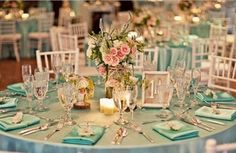 ROMANTIQUE WEDDING RECEPTION DECORATIONS | Tiffany Blue Wedding Reception Decorations