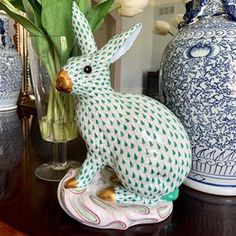Vintage• Home •Antiques •Decor (@lilliangreysvintagehome) • Instagram photos and videos #herend Staffordshire Dog, Antique Decor, White Porcelain, Dinosaur Stuffed Animal, Table Settings, Blue And White, Display, Traditional, Photo And Video