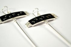 Sterling Silver Earrings  Black and White Bugs  by maldonadojoyas, $69.00