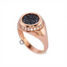 Ένα μοντέρνο δαχτυλίδι τύπου σεβαλιέ (chevalier) σε ροζ χρυσό Κ14 με μαύρα  ζιργκόν στο 93e02b2b047