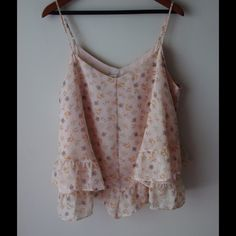 "LC Lauren Conrad flowy top Floral printed top - flowy style - adjustable straps - lined - polyester - chest across measures 22"" - total length measures 25"" - size XL LC Lauren Conrad Tops"