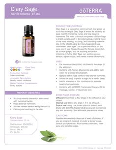 Clary Sage Product Information Page #doterra #essentialoil #clarysage