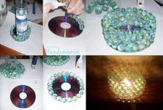 An old CD, plastic/glass gemstones or marbles, and a hot glue gun to make a beautiful candle votive.