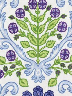 Blue Floral Fabric - Modern Upholstery Yardage - Blue Purple Green - Home Decor Fabric - Modern Floral Drapery Material