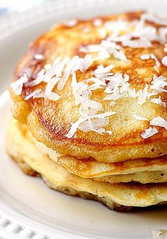 These easy Coconut Pancakes are great for breakfast or brunch. via @Amy Lyons Johnson / She Wears Many Hats
