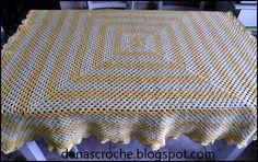 Denas Crochê: Toalha de Mesa quadrada em crochê com gráfico