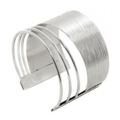 Rhodium Thick and Thin Bangle Bracelet