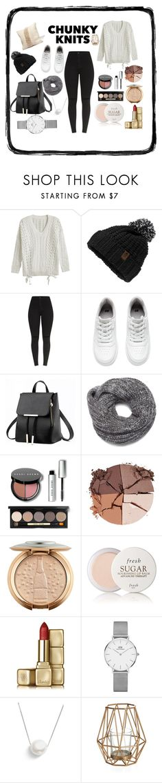 """""""Chunky Knits <3"""" by fashion-baby13 ❤ liked on Polyvore featuring The North Face, H&M, Nine West, Bobbi Brown Cosmetics, lilah b., Fresh, Guerlain, Daniel Wellington and Chan Luu"""