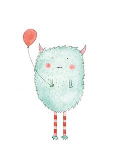 Daisy S Monster. Illustration of a colourful by HelloPants on Etsy, $28.00