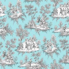 Enjoy a touch of classical elegance in your home with this charming toile wallpaper. Whimsical scenes of everyday Victorian life are etched in grey against a soft turquoise backdrop. Rutland is an unpasted, non woven wallpaper. Coastal Wallpaper, Turquoise Wallpaper, Turquoise Tile, Turquoise Room, Toile Wallpaper, Chinoiserie Wallpaper, Wallpaper Samples, Decoupage, Victorian Life
