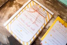 Rustic Wedding Invitation Set  Mason Jar Wedding by ellablanc, $2.00.    Maybe you could make these?!