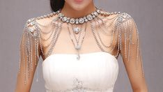 Bridal Luxury vintage jewelry women long crystal necklace chain accessories wedding shoulder strap bijouterie body chain jewelry on Etsy, $270.00 CAD