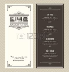 menu: Restaurant or cafe menu vector design template with vintage retro art deco…
