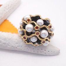 Perle Zirkonia weiß rot gold Glamour Statement Design Ring Ø 18,5 mm schwarz neu Black Rhodium, Brooch, Glamour, Floral, Flowers, Jewelry, Design, Red, Black