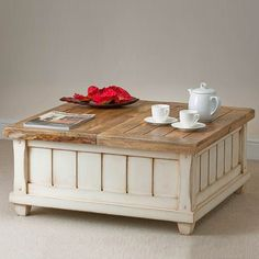Rustic elegant white coffee table with storage is usually chosen by romantic people.
