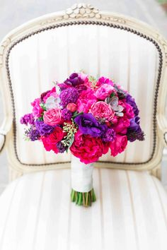 Purple Wedding Flowers Bright and preppy purple and pink bouquet Prom Flowers, Bridal Flowers, Flower Bouquet Wedding, Floral Wedding, Bridal Bouquets, Flower Bouquets, Trendy Wedding, Wedding Decor, Prom Bouquet