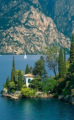 Villa near Torbole on Lake Garda, Trentino, Italy.