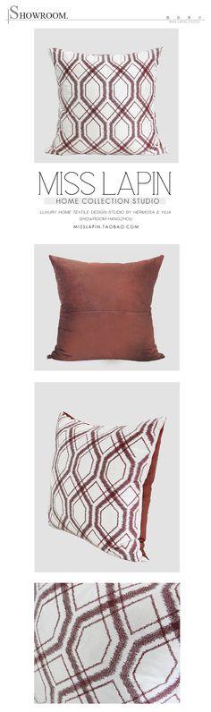 MISS LAPIN简约现代沙发设计师样板房/红棕色几何图案绣花方枕-淘宝网
