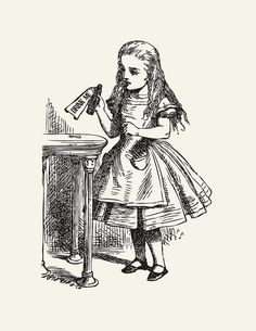 Drink Me: Alice in Wonderland Art// Unique Baby Shower Gift // Nursery Art// Kids Room Decor