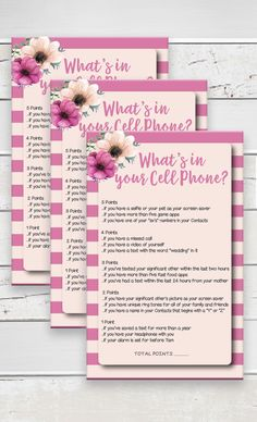Cell Phone Bridal Shower Fl Theme Pink Stripes Flowers Burgundy Instant D1637