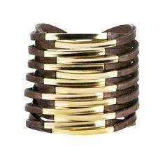 Twisted Leather Cuff Beaver by Daniela Zagnolli | Bracelets | Boutine.com