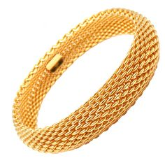 1stdibs - TIFFANY & CO Somerset Wide Mesh Yellow Gold Bracelet explore items from 1,700  global dealers at 1stdibs.com