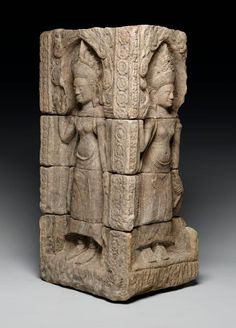 Corner relief with devatas. Date: late 12th–early 13th century. Cambodia. Culture: Khmer empire.