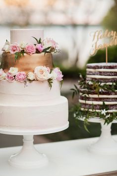 Pink and Gold Buttercream Wedding Cake and Red Velvet Groom's Cake by Cakewalk Bake Shop Photography: Apryl Ann Photography   www.aprylann.com   View more: http://stylemepretty.com/vault/gallery/36483