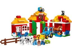 LEGO DUPLO LEGOVille Big Farm and thousands more of the very best toys at Fat Brain Toys. It's a breath of fresh air and a full barnyard of fun! Building a big barn, several anima. Lego Duplo Town, Lego Duplo Sets, Lego City, Lego Shop, Buy Lego, Toddler Toys, Kids Toys, Cubes, Happy Zoo