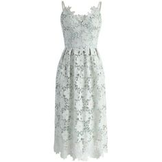 Chicwish Ebullience of Flowers Crochet Cami Dress in Mint (17.645 HUF) ❤ liked on Polyvore featuring dresses, green, a line dress, floral dresses, green cami, flower dress and flower pattern dress