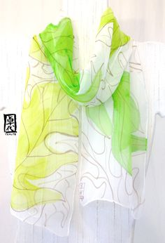 Silk Scarf Handpainted, Mothers Day Gift,  Summer Scarves, Chartreuse Green Tropical Ferns Scarf, Silk Scarves Takuyo 7x52 inches.