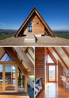 An expressed hardwood structure anchors the cabin, defining the interior spaces and framing views of the surrounding farmlands. A Frame Tent, A Frame Cabin, A Frame House, Eco Cabin, Tiny House Cabin, Cabin Homes, Tiny Homes, Shed Plans, House Plans