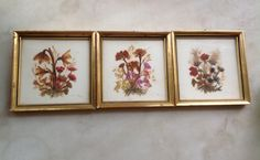 Set of Three Vintage Pressed Flowers Pictures in Gold Frames hand made in Tyrol Austria by aniadesigns on Etsy