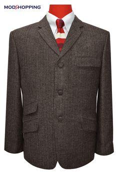 Modshopping - TWEED DARK BROWN HERRINGBONE JACKET, £149.00 (http://www.modshopping.com/tweed-dark-brown-herringbone-jacket/)