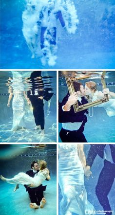 """Unique~ Underwater """"save the date"""" or engagement photo shoot. So neat!!"""