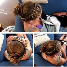 braided headband with ponytail...i could never. but it's a nice dream.