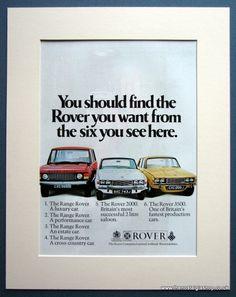 Vintage Original Adverts - Automobile Adverts. - Rover 2000,Range Rover,Rover 3500 1970 Original Advert (ref AD 1637)