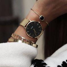 Watch Cluse La Bohème Mesh Gold/Black https://clusewatches.com/nl/model/cluse-laboheme-mesh-gold-black-CL18110