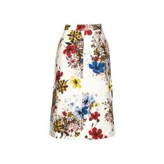 Erdem Floral-print cotton-canvas midi skirt (61.095 RUB) ❤ liked on Polyvore featuring skirts, white print, white floral skirt, white knee length skirt, floral print skirt, a line midi skirt and white high waisted skirt