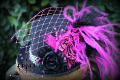 mini top hat fascinator  photo prop  hot pink by fancygirlbowtique, $20.00