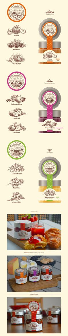 Some illustrations and label for honey, chutney and jam from the Alpine region