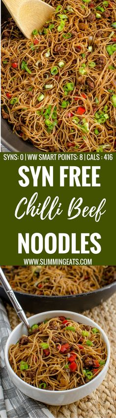 Slimming Eats Syn Free Chilli Beef Noodles - gluten free, dairy free, slimming world and weight watchers friendly astuce recette minceur girl world world recipes world snacks Slimming World Dinners, Slimming World Recipes Syn Free, Slimming World Syns, Slimming Eats, Slimming World Lunch Ideas, Slimming World Noodles, Slimming World Minced Beef Recipes, Slimming World Stir Fry, Slimming World Curry