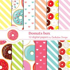 75% OFF SALE Donuts,party, doughnuts, sweets Invitation, Digital paper, Pattern, Background, Personal and commercial use, Instant download