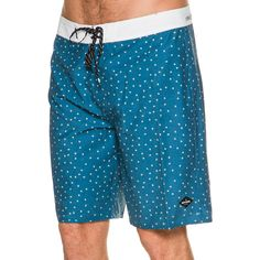 """Rip Curl Mirage Slants Boardshort.     Men's boardshorts.     Fixed waist band with tie.      All over print with contrast waistband.     Patch logo at front.    20"""" outseam.     Imported.     Vendor Style # CBOBQ7.       Size + Fit Guide:      Model is wearing size M/32.      Model's height: 6'11"""".      Shirt: 15 inches.      Model's waist: 31 inches.      Inseam: 26 inches."""
